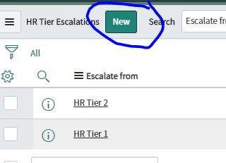 HR Tier Escalat  All  Escalate fn  Escalate from  HR Tier 2  HR Tier 1